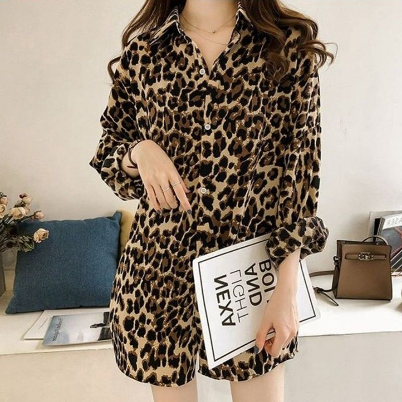 Womens Plus Size Long Sleeve Blouse Vintage Leopard Printed Lapel Collar Shirts Casual Loose Button Down V-Neck Tunic Tops M-4XL