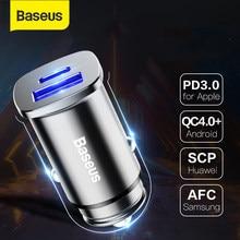 Baseus 30W USB typ C PD szybkie ładowanie 4.0 3.0 ładowarka samochodowa SCP ładowarka do telefonu komórkowego szybka ładowarka samochodowa do Huawei Supercharge
