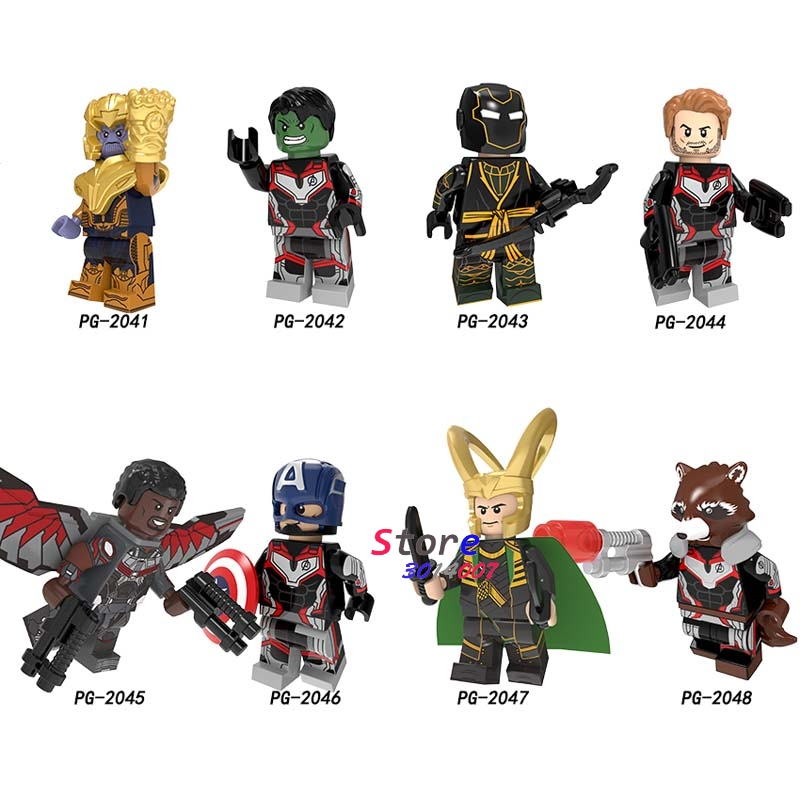Single Avengers Endgame Thor Loki Thanos Hulk Hawkeye Captain America Star-Lord Rocket Raccoon Building Blocks Kids Toy
