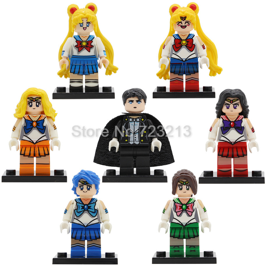 7pcs/lot Sailor Moon Cartoon Figure Set Chiba Mamoru Hino Rei Mizuno Ami Building Blocks Sets Models Bricks Toys Legoing