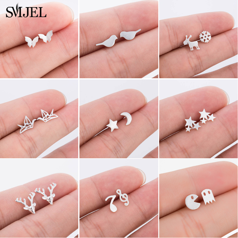 SMJEL Real 925 Sterling Silver Animal Earrings For Women Cute Bird Deer Ghost Music Studs Christmas Earrings Gifts Child