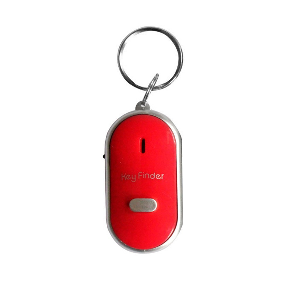 Red LED Whistle Key Finder Flashing Beeping Sound Control Alarm Anti-Lost Key Locator Finder Tracker With Key Ring