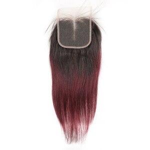Image 3 - 4*4 レース閉鎖 kemy 毛 100% ブラジルストレート人毛フリー/中央/スリーパートスイスレース閉鎖非レミーの髪
