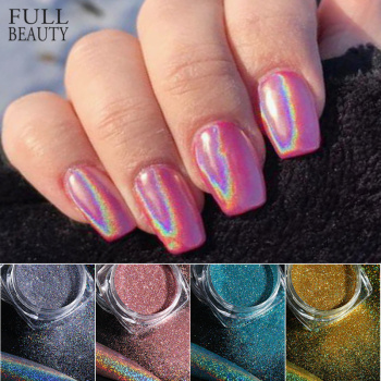 Holographic Powder on Nails Laser Silver Glitter Chrome Nail Powder DIP Shimmer Gel Polish Flakes for Manicure Pigment CH1028-4 1