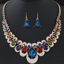 все цены на Multicolor Cubic Zirconia Water Drop Jewelry Sets for Women Ladies Necklace Earrings Sets Bridal Wedding bijoux africain parures онлайн