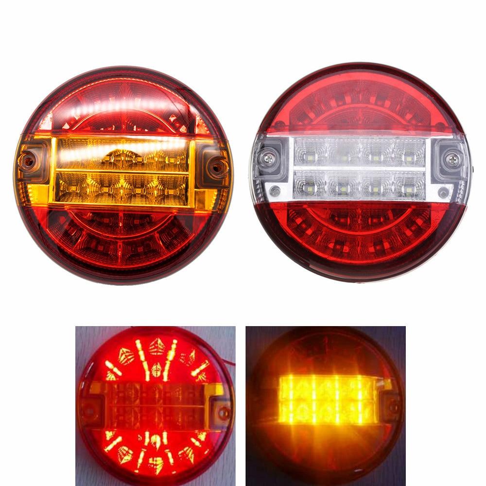 2Pcs 4inch 20 LEDs Truck Tail Light Stop Brake Reverse Lamp For 24V Vehicles Trailer Caravan 10-30V