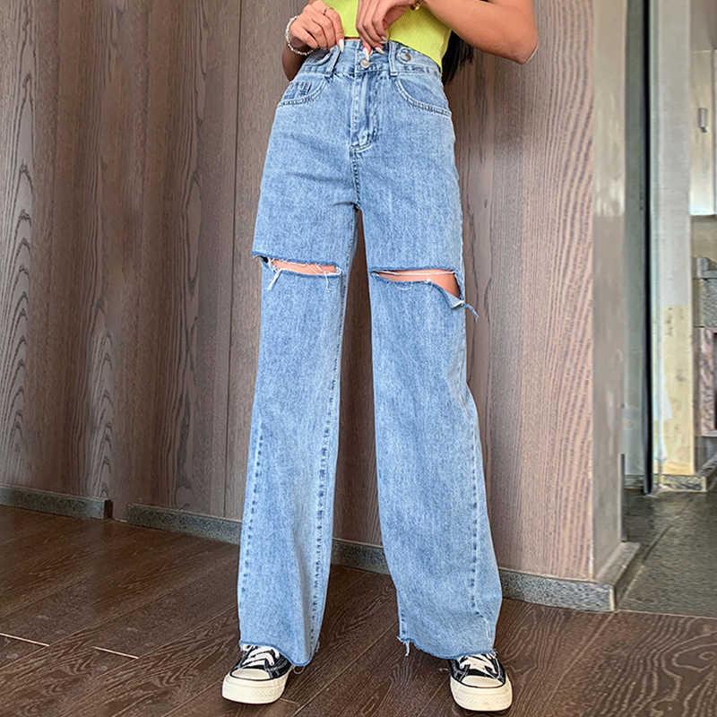Pantalones Vaqueros Rasgados Para Mujer Pantalones Holgados De Corte Recto De Cintura Alta Podridos Anchos 100 De Algodon Pantalones Vaqueros Aliexpress