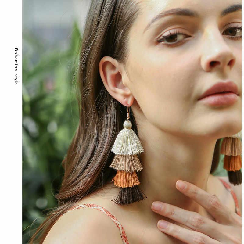 4 gelaagde Bohemian Omzoomd Goedkope Verklaring Kwastje Oorbellen voor Vrouwen Lange Drop Dangle Oorbellen 2019 Boho Indian Sieraden