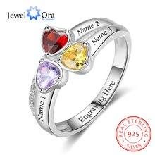 جوهرة الميلاد على شكل قلب محفور عليها 3 اسم خاتم فضة استرليني 925 هدية عيد ميلاد للأم (JewelOra RI103260)