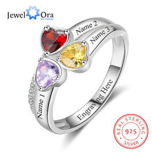 Heart Birthstone ส่วนบุคคลแกะสลัก 3 ชื่อแหวนเงิน 925 เครื่องประดับสำหรับแม่ (JewelOra RI103260)