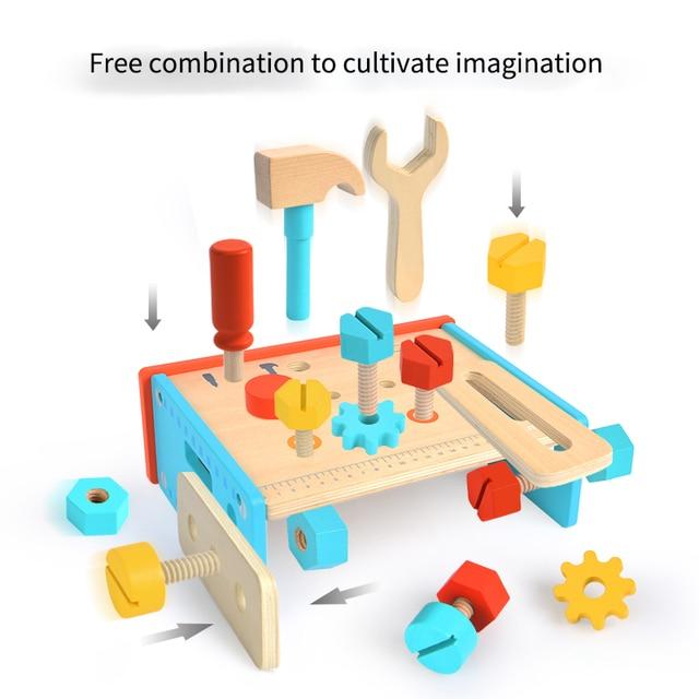 MiDeer Baby Pretend Play Toys Simulation Repair Tools Wooden Education 3Y Boy Girls Multi tool Table