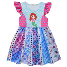Girl Mermaide Dress Princess Dresses Flying Sleeve Beautiful Baby Girl printed Dress girl dresses new surprise cartoon pattern flying sleeve big eye doll children s dress