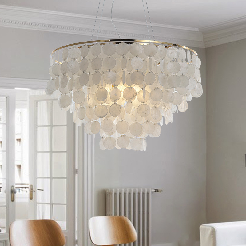 Modern Pendant Light Led Nature White Sea Shell Bulb Aisle Lamp Bedroom Lamp Indoor Home Lighting Light Fixture
