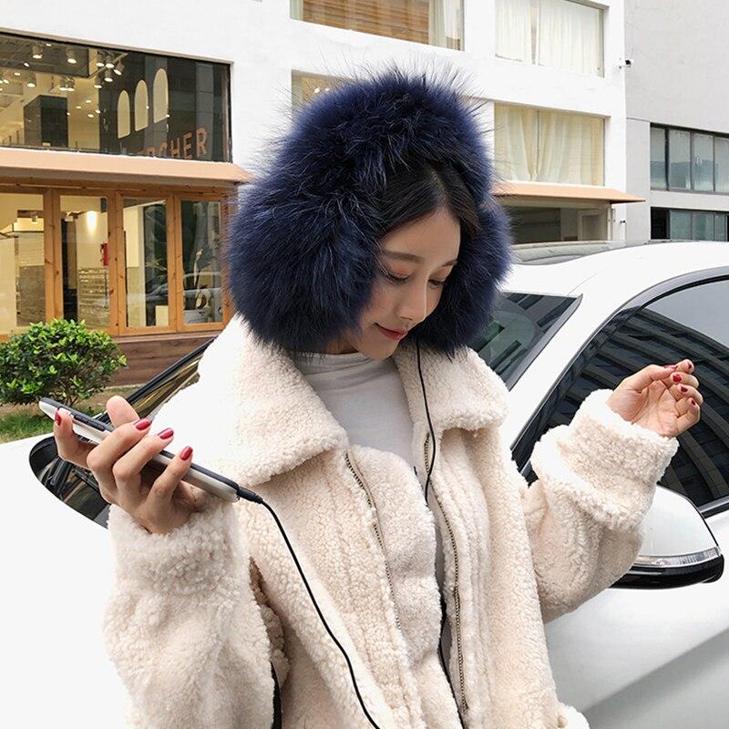 2020 New Women's Warm Earmuffs Real Raccoon Fur Ear Warmers With Speaker Soft Lovely Earflap S7720