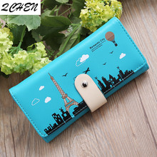 Woman's wallet New ladies buckle wallet printed iron tower female card package mobile phone bag purse Korean wallet Cheap 575 the fall of the new korean tattoo lady 80 percent off ladies purse wallet card package new wallet page 9