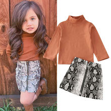2020 Newest Hot Toddler Baby Girl Long Sleeve Turtleneck Tops T-shirt +Snake Skin Pencil Skirts Kids Outfits 2pcs Clothes Set