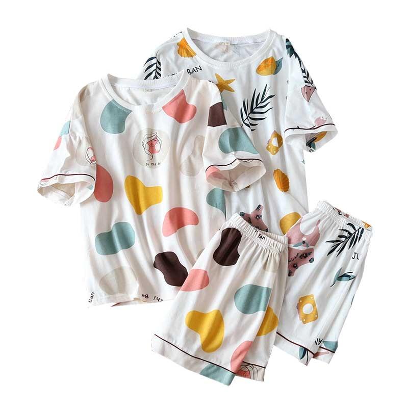 2020 Summer Ladies Pajamas Set Cartoon Printed Short-sleeve Top+Shorts 2Pcs Sleepwear Women Comfort Cotton Homewear Casual Wear