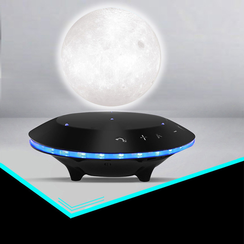 Hot Sale Magnetic Levitating 3D Moon Lamp 360 Rotated Creative Bluetooth Audio Table Lamp Night Light Subwoofer USB Bedside Lamp