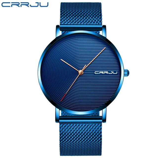 CRRJU luksusowy męski zegarek moda minimalistyczny niebieski Ultra cienka siatka pasek zegarka Casual wodoodporny Sport mężczyźni zegarek prezent dla mężczyzn