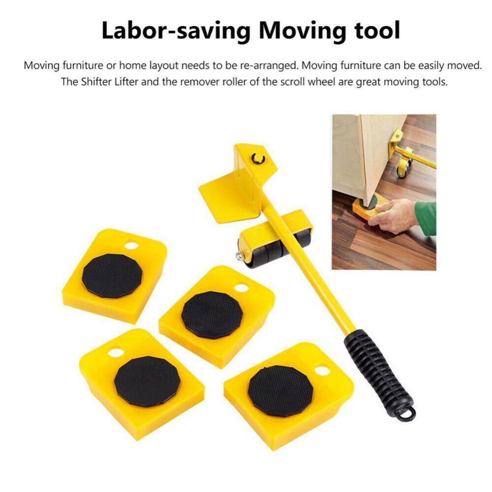 5pcs Furniture Movers Profession Heavy Furniture Roller Move Tool Wheel Bar Sliders Set Kit Mover Lifter Device Furniture X6P8