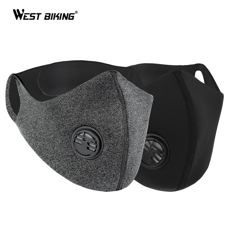 WEST BIKING Cycling Mask Sport Face Mask PM2.5 Anti Pollution Activated Carbon 95% Filtration Effect Training Running Mask