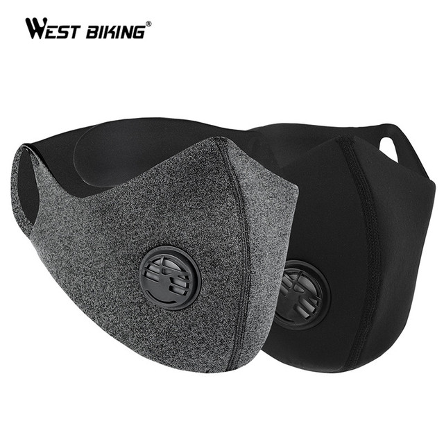 WEST BIKING Cycling Mask Sport Face Mask PM2.5 Anti Pollution Activated Carbon  Filter Training Running Bike Mask