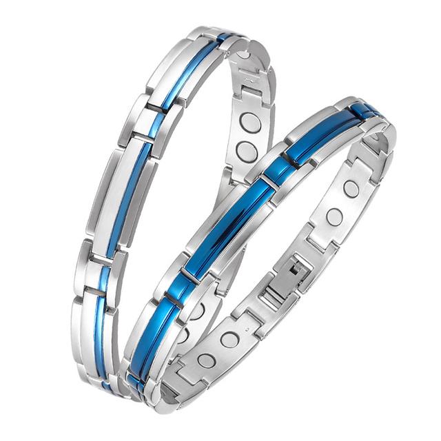 Fashion Stainless Steel Lover Bangle Men Women Couple Magnetic Bracelets 3000 GAUSS Energy Charm Wrist Chain Valentine's gift