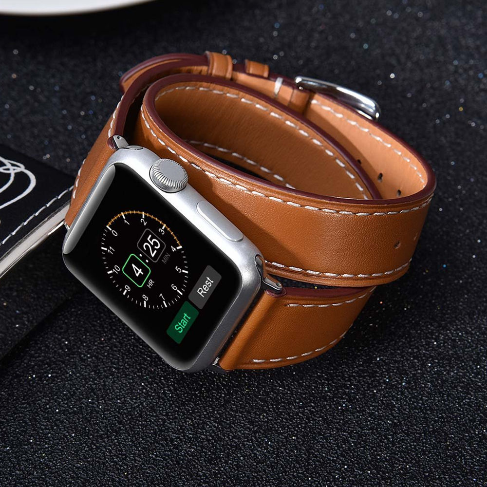 Genuine Leather Strap For Apple Watch Band 44 Mm/40mm 42mm/38mm Double Tour Bracelet Watchband For IWatch Series 5 4 3 2 1 40 38