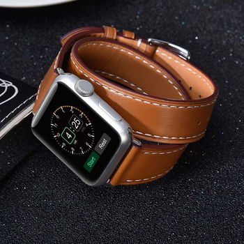 Genuine Leather strap for Apple watch band 44 mm/40mm 42mm/38mm Double Tour bracelet watchband for iWatch series 5 4 3 2 1 40 38 недорого