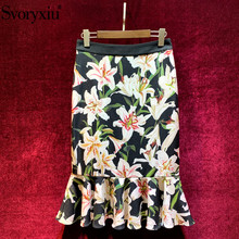 Svoryxiu Runway Elegant lily Flower Printed Mermaid Skirt Womens  Vintage Party Female Package Buttocks Ruffles
