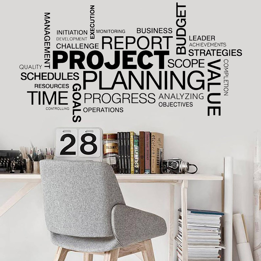 Office Wall Sticker Project Planning Quotes Wall Decals Decor Company Conference Room Vinyl Interior Decoration Wall Paper Y410