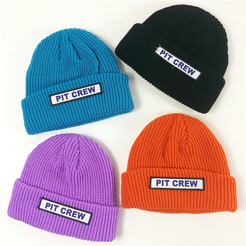 Knit Hat Wool-Cap Korean-Version Autumn Candy-Color Winter Children's New Patch of New-Wave
