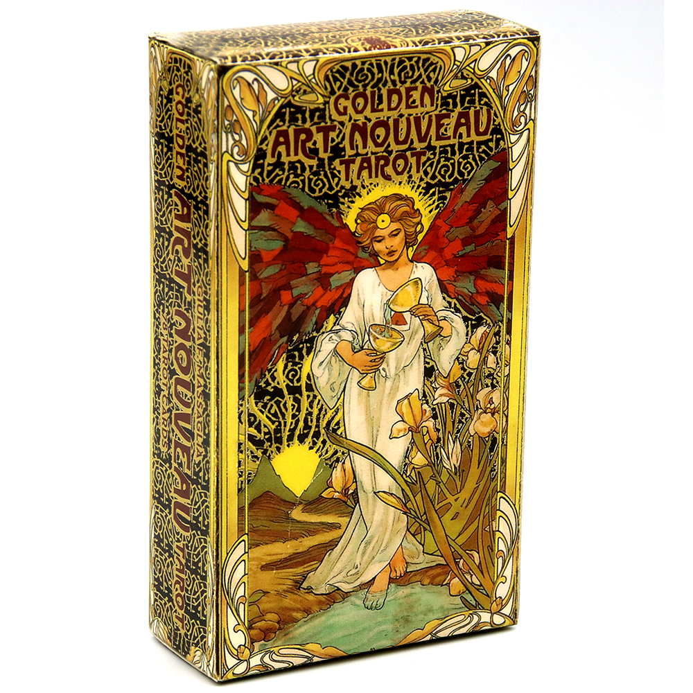 Golden Art Nouveau Tarot Deck 78 Cards With Guidebook Cards Occult Divination Book Sets For Beginners Classic Art Nouveau Style