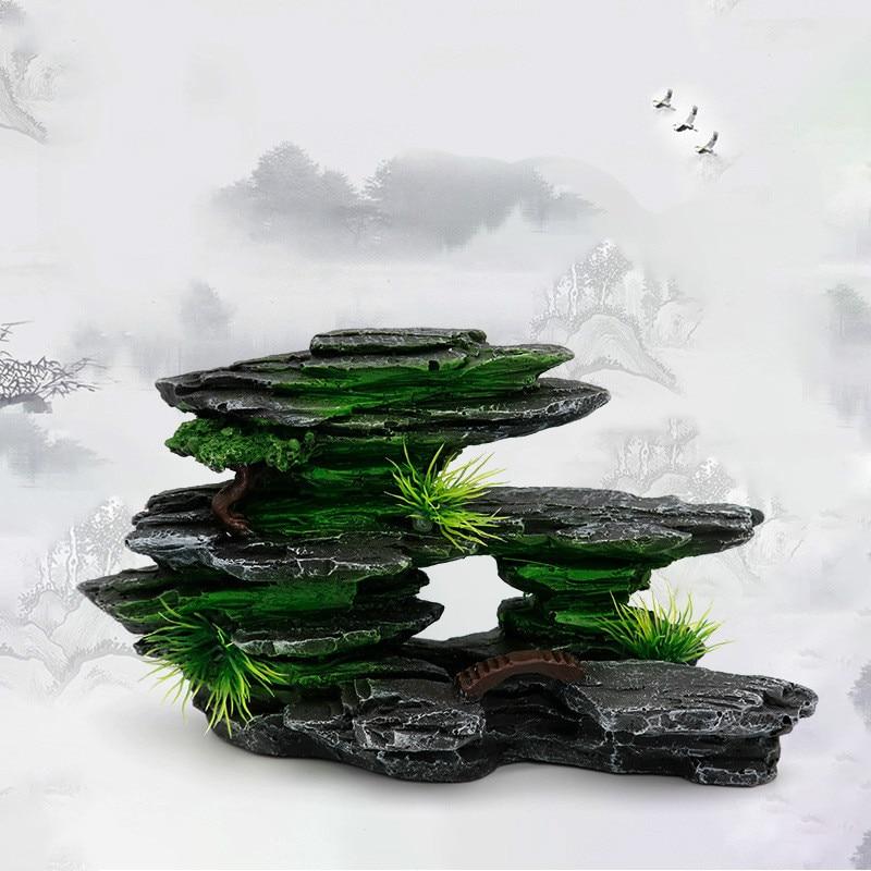 Аквариумное украшение для аквариума, ландшафтный искусственный полимер, камень кастрюля, акваландшафтный орнамент, декоративные аксессуа...