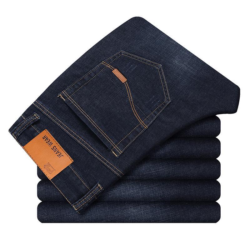 Мужские классические джинсы, джинсовые мужские брюки, мужские мягкие черные байкерские джинсовые комбинезоны, Мужские штаны - Цвет: Blue Black