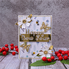 DiyArts Happy New Year Letter Border Metal Cutting Dies Craft Stencil Punching Templates Scrapbooking Decorative Embossing Mold