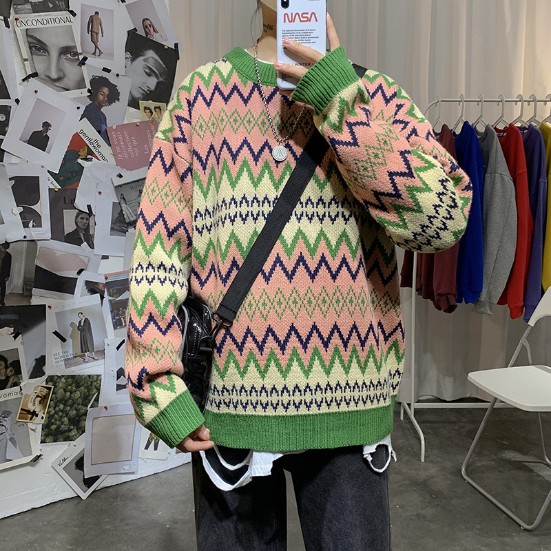 Sweater Men's Warm Fashion Contrast Color Casual Retro O-neck Knit Pullover Men Loose Knitting Sweaters Male Sweter Clothes