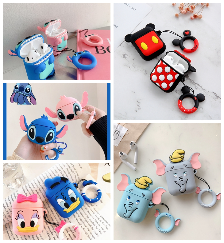 For Airpods 2 Case Silicone Stitch Cartoon Cover For Apple Airpods Case Cute Earphone 3D Headphone Case For Earpods Christmas