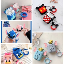 For Airpods 2 Case Silicone Stitch Cartoon Cover For Apple Airpods Case Cute Earphone 3D Headphone c