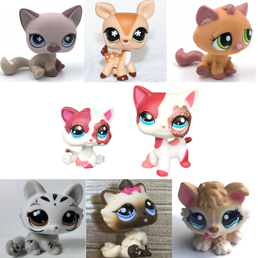 Old Pet Shop Cute Toys Mini Short Hair Kitten HIMALAYAN Kitty Husky Dog Spaniel Collie Great Dane Rare Figure Collection