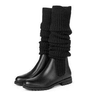 Image 4 - Mode Frauen Über Die Knie Elastische Stiefel Kid Suede Slip Auf Platz Heels Wasserdichte Winter Damen Motorrad Schuhe größe 34 40