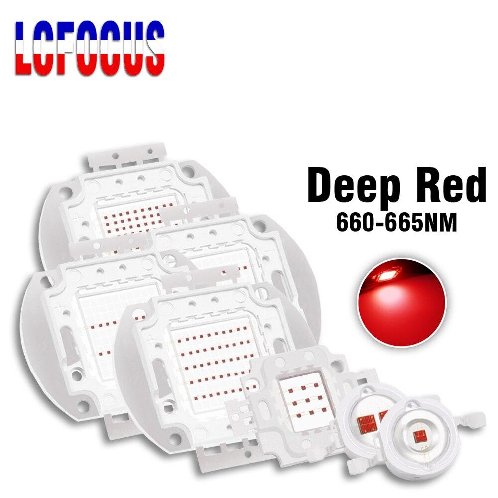 Chip LED COB para crecimiento de fruta, planta DIY de luz roja profunda de 660nm, 1W, 3W, 5W, 10W, 20W, 30W, 50W, 100 W, para 1, 3, 5, 10, 30, 50, 100 W