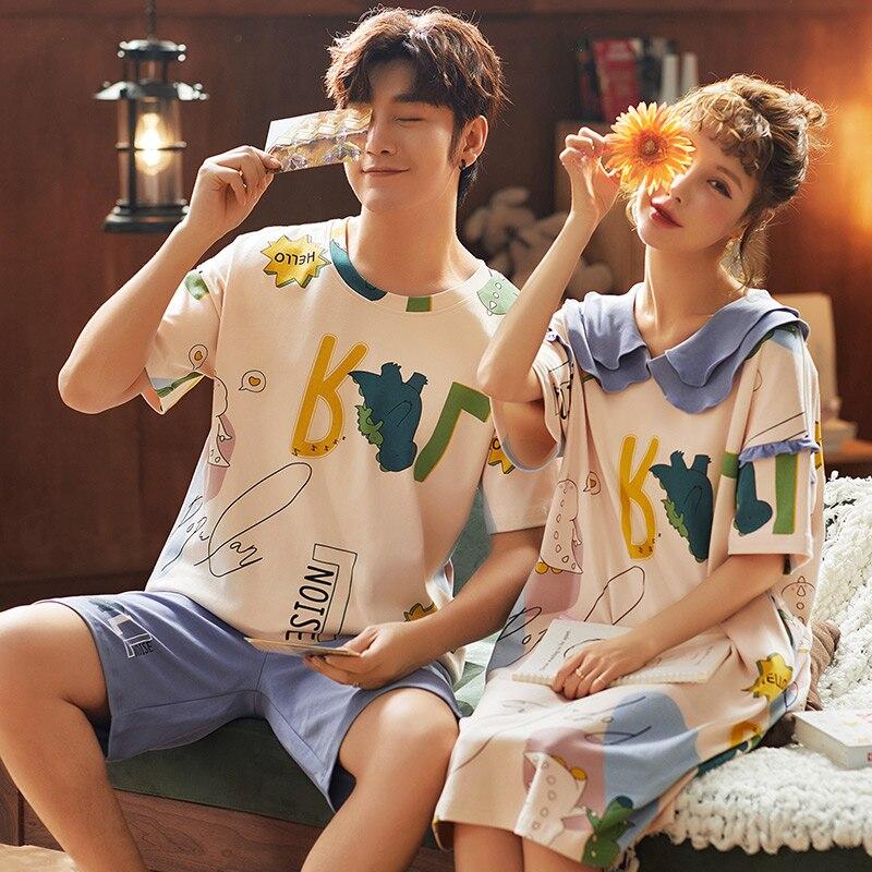 Couple Pajamas New Summer 100% Cotton Pajamas Cute Cartoon Round Neck Casual Men's Pajamas Suit Women's Night