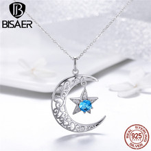 Moon and Star Pendant Necklace 925 Sterling Silver Retro Openwork Moon Star Silver Chain Necklace Women Fashion Jewelry GXN278