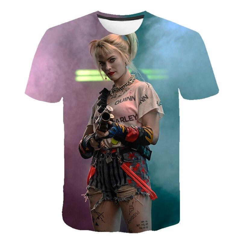 Harley Quinn T Shirt Streetwear Tee shirt For Vogue Women shirt Harajuku Clothing Funny Vintage 3D Print Birds of Prey Movie Top
