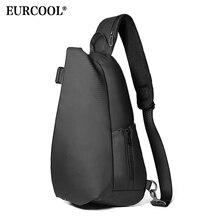 EURCOOL męska torba na klatkę piersiową dla 12 cal ipad wielofunkcyjne Crossbody torby z ładowaniem USB podróżny torba na ramię wodoodporna n1850