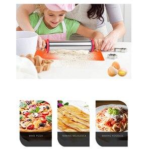 Image 3 - Duży regulowany wałek ze stali nierdzewnej z 3 wymiennymi pierścieniami grubości, narzędzie kuchenne z plastikowym uchwytem, gadżet dla dziecka