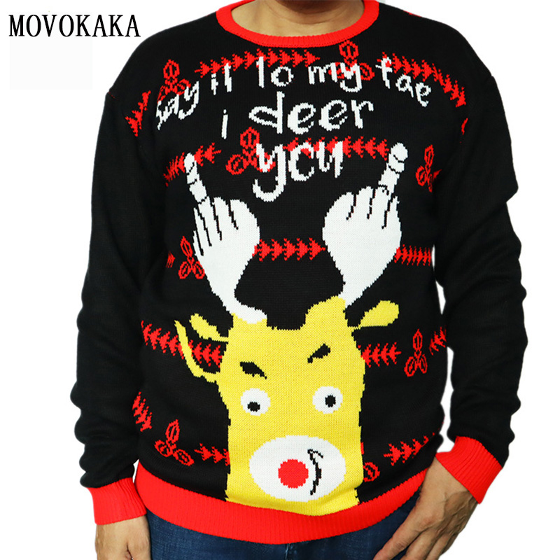 Fashion Christmas Sweater Men Black Pullover Men Pull Men Deer Print Knitted Sweater Male Christmas Sweater Man Casual Pullovers