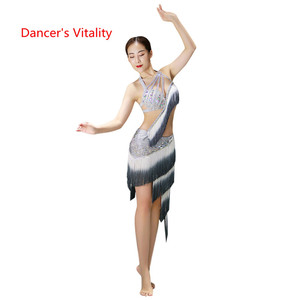 Image 1 - Belly Dance Bra+Split Skirt Profession Performance Clothing Female High End Sexy Tassel Suits Practice Clothes Spring And Summer