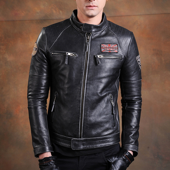 Free shipping,Biker Brand style Vintage men's quality genuine leather Jacket slim 100% natural cowhide coat.leather clothing - discount item  20% OFF Coats & Jackets